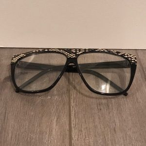 Thick Framed Clear Lens Glasses with Snake Print